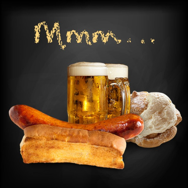 sausage, bratwurst, bahama mamas, schmidt's, haus, german, potato salad, cream puffs