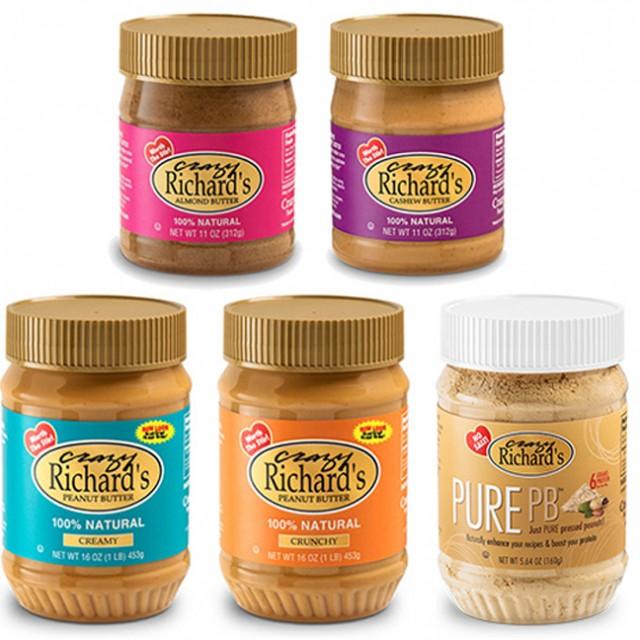 Crazy Richard's peanut butter, design, labels, jars, swag,